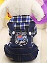Gnagare Hund Katt Jumpsuits Hundkläder Fuchsia Grön Röd Kostym Husky Labrador alaskan malamute Cotton Prickig & Rutig Jeans Sport och utomhus Rutig XS S M L XL XXL