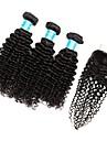 3 paket med stängning Vietnamesiskt hår Kinky Curly 10A Obehandlad hår Hår Inslag med Stängning 8-28 tum Naturlig Hårförlängning av äkta hår Bästa kvalitet 100% Jungfru Människohår förlängningar Dam