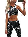Dam Yoga Suit Mode Yoga Löpning Fitness Cykling Tights Bra Top Träningsdräkter Ärmlös Sportkläder Lättvikt Andningsfunktion Snabb tork Sportflex Hög Elasisitet Smal