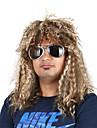 Syntetiska peruker Kostymperuker Lockigt Bob-frisyr Peruk Guld Mellan Ljusguldig Beige Svart Syntetiskt hår 22 tum Herr Cosplay Bekväm För europeisk Guld Brun