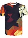 Men\'s T-shirt Geometric 3D Print Short Sleeve Tops Round Neck Rainbow / Summer