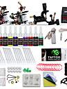 DRAGONHAWK Tattoo Machine Startkit - 3 pcs Tatueringsmaskiner med 10 x 5 ml tatueringsfärger, professionell nivå, Justerbart voltantal, Lätt att installera Legering LCD strömförsörjning No case 2 x