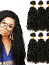 3 paket Brasilianskt hår Kinky Curly Äkta hår Huvudbonad Förlängare bunt hår 8-28 tum Svart Naurlig färg Hårförlängning av äkta hår Mjuk Silkig Bästa kvalitet Människohår förlängningar / 8A