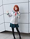 Inspirerad av My Hero Academia / Boku No Hero Ochaco Uraraka / skol / JK Uniform Animé Cosplay-kostymer Japanska cosplay Suits Enfärgad / Anime Kappa / Skjorta / Kjol Till Dam