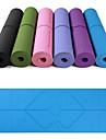 Yoga Matta 183*61*0.6 cm Miljövänlig Multifunktion anti slip TPE Position Line För Yoga Pilates Motion & Fitness Svart Violet t Mörklila