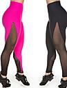 Dam Hög midja Genomskinlig Yoga byxor Spot Elastan Mesh Zumba Löpning Dans 3/4 Strumpbyxor Leggings Sportkläder Andningsfunktion Anatomisk design Kompression Push up-byxor Elastisk