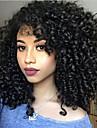 Syntetiska peruker Lockigt Sidodel Peruk Mellan Svart Syntetiskt hår 16 tum Dam Värmetåligt Dam Med Bangs Svart