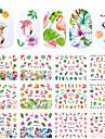 12 pcs Vattenöverföringsklistermärke Blomserier / Flamingo nagel konst manikyr Pedikyr Ny Design / Bästa kvalitet Tropisk / Renässans Fest / afton / Maskerad / Familjesammankomst