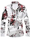 Men\'s Shirt Floral Plus Size Print Long Sleeve Daily Slim Tops Basic Red