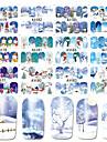 12 pcs Vattenöverföringsklistermärke Tomtekostymer / Snöflinga nagel konst manikyr Pedikyr Ny Design / Bästa kvalitet / Hög kvalitet, fri formaldehyd Tecknat / Ljuv Jul / Halloween / Fest / afton