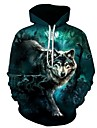 Men\'s Plus Size Hoodie Wolf 3D Print Hooded Sports - Long Sleeve Loose Green S M L XL XXL XXXL XXXXL XXXXXL XXXXXXL / Fall / Winter
