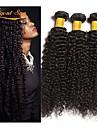 3 paket Brasilianskt hår Lockigt Äkta hår Human Hår vävar Förlängare bunt hår 8-28 tum Naurlig färg Hårförlängning av äkta hår Bästa kvalitet 100% Jungfru curling Människohår förlängningar / 8A