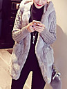 Women\'s Holiday / Work Street chic / Punk & Gothic Solid Colored / Striped / Color Block Plus Size Regular Parka, Faux Fur / POLY Long Sleeve Winter Hooded Brown / White / Gray XXL / XXXL / 4XL