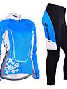 Nuckily Dam Långärmad Cykeltröja och tights Blå Blommig Botanisk Cykel Träningsdräkter Vindtät Andningsfunktion 3D Tablett Anatomisk design Reflexremsa sporter Polyester Lycra Blommig Botanisk