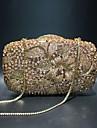 Dam Kristalldetaljer / Ihålig Legering Aftonväska Rhinestone Crystal Evening Bags Ensfärgat Champagne / Höst vinter