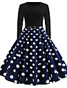 Women\'s Swing Dress Knee Length Dress Blue Black Red Long Sleeve Polka Dot Fall Spring Round Neck Elegant Vintage Holiday Going out S M L XL XXL / Cotton / Cotton
