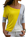 Women\'s Daily Loose T-shirt - Color Block Yellow