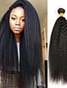3 paket Mongoliskt hår Yaki Rakt Äkta hår Obehandlat Mänsligt hår Human Hår vävar bunt hår En Pack Lösning 8-28 tum Naurlig färg Hårförlängning av äkta hår Cosplay Häftig Vackert Människohår / 8A