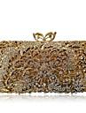 Dam Kristalldetaljer / Ihålig Legering Aftonväska Rhinestone Crystal Evening Bags Ensfärgat Guld / Silver / Höst vinter