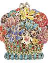 Dam Kristalldetaljer / Ihålig Legering Aftonväska Rhinestone Crystal Evening Bags Blommig / Botanisk Rodnande Rosa / Guld / Ljusguld / Höst vinter