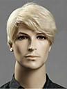 Syntetiska peruker Rak Asymmetrisk frisyr Peruk Blond Korta Ljusguldig Syntetiskt hår 20 tum Herr Ung Blond