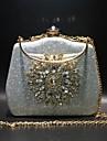 Dam Knappar / Kristalldetaljer Microfiber Aftonväska Rhinestone Crystal Evening Bags Ensfärgat Svart / Guld / Marinblå / Höst vinter