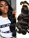 3 paket Peruanskt hår Kroppsvågor Äkta hår Human Hår vävar bunt hår En Pack Lösning 8-28 tum Naturlig Naurlig färg Hårförlängning av äkta hår Mjuk Silkig Förlängning Människohår förlängningar / 8A