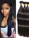 3 paket Brasilianskt hår Rak Äkta hår Förlängare bunt hår En Pack Lösning 8-28 tum Naturlig Naurlig färg Hårförlängning av äkta hår Silkig Len Bästa kvalitet Människohår förlängningar / 8A
