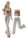 Doll Outfit Dollbyxor Byxor Toppar 2 pcs För Barbie Mode Rosa och Grön Icke vävt tyg Duk Bommulstyg Topp / Byxor För Flicka Dockleksak