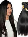 4 paket Malaysiskt hår Rak Äkta hår Human Hår vävar Förlängare bunt hår 8-28 tum Naurlig färg Hårförlängning av äkta hår Silkig Len Människohår förlängningar / 8A