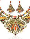 Women\'s Multicolor Synthetic Diamond Drop Earrings Statement Necklace Geometrical Flower Ladies Luxury Bohemian Ethnic Elegant African Resin Rhinestone Earrings Jewelry Rainbow For Party Festival 1