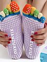 Dam Yogastrumpor för extra golvgrepp Fem Toe Socks Tåstrumpor Anti-Halk Svettavvisande Non Slip Pilates Bikram Barre sporter Vinter Svart Gul+Blå Vit+Blå