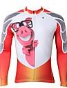 ILPALADINO Herr Långärmad Cykeltröja Vit Cykel Tröja Överdelar Bergscykling Vägcykling Håller värmen Fleecefoder UV-Resistent sporter Vinter Elastan Fleece Kläder