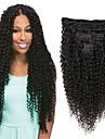 Klämma In / På Människohår förlängningar Rak Äkta hår Hårförlängningar av äkta hår Brasilianskt hår Naturlig Svart 7 st Ny ankomst Till färgade kvinnor Dam Svart