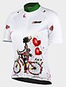 21Grams Dam Kortärmad Cykeltröja - Vit Blommig / Botanisk Cykel Tröja Överdelar, Andningsfunktion Snabb tork UV-Resistent 100% Polyester / Elastisk / Avancerad / Bakficka / Italien Importerad bläck
