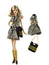 Doll Outfit Dollbyxor Klänningar För Barbie Mode Kaffe Icke vävt tyg Duk Bommulstyg Klänning För Flicka Dockleksak