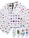24 pcs 3D Nagelstickers Vattenöverföringsklistermärke Blomma nagel konst manikyr Pedikyr Miljövänlig / Multifunktion Mode Dagligen