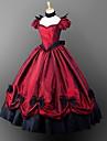 Gothic Lolita Gotiskt Victoriansk Klänningar Festklädsel Maskerad Dam Flickor Satin Kostym Emerald Grön / Dammig lavendel / Dusty Rose Vintage Cosplay Kort ärm Golvlång Balklänning Plusstorlekar
