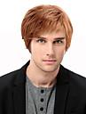 Mänskligt hår Peruk Korta Rak Korta frisyrer 2019 Rak Sidodel Maskingjord Herr Svart Medium Rödbrun Rödlätt / Blekt Blont