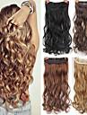 Syntetiska utsträckningar Naturligt vågigt Syntetiskt hår Högkvalitativ värmebeständig fiber 22 inch HÅRFÖRLÄNGNING Klämma In / På Blond 1 st. syntetisk Förlängning Dam Dagliga kläder