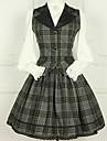 Sweet Lolita Prinsess Lolita Klänningar Korsett Flickor Dam Ull Cotton Japanska Cosplay-kostymer Magneta Pläd / Rutig Vintage Spetsärmar Knälång