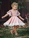 barnas smaa jentekjole aarsaksblomstrede blonder ensfarget fest skole lilla roedmende rosa groenn kortermet soete soete kjoler sommer 2-12 aar
