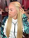 Syntetiska snörning framifrån Rak Middle Part Spetsfront Peruk Blond Lång Blond Syntetiskt hår 22-26 tum Dam Värmetåligt Dam Mittbena Blond / limfria