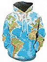 Men\'s Plus Size Sports Active / Street chic Long Sleeve Loose Hoodie - Geometric / 3D Print Hooded Light Blue S / Fall / Winter