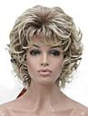 Syntetiska peruker Lockigt Kort Bob Peruk Guld Korta Ljusguldig Guldbrun Svart Syntetiskt hår 6 tum Dam syntetisk Guld Svart