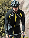SANTIC Herr Cykeljacka Cykel Jacka / Tröja / Överdelar Vindtät, Fleecefoder, Andningsfunktion Lappverk Elastan, Fleece Vinter Gul / Svart Avancerad Bergscykling Semi-formsydd Cykelkläder Avancerade
