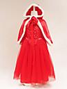 Belle Cosplay Kostymer / Dräkter Barn Flickor Klänningar Jul Halloween Karnival Festival / högtid Tyll Cotton Röd / Blå Karnival Kostymer Prinsessa