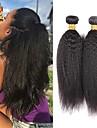 3 paket Brasilianskt hår Kinky Rakt Äkta hår Obehandlat Mänsligt hår Huvudbonad Human Hår vävar Hårvård 8-28 tum Naurlig färg Hårförlängning av äkta hår Kreativ Tjock Bekväm Människohår förlängningar