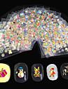 24 pcs 3D Nagelstickers Kreativ / Julgran nagel konst manikyr Pedikyr Bästa kvalitet Mode Jul / Festival