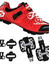 SIDEBIKE Vuxna Cykelskor med pedaler och klossar MTB-skor Kolfiber Stötdämpande Cykelsport Röd / Svart Herr Cykelskor / Andningsbart Nät